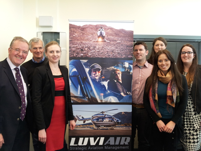 From left to right: Nigel Watson, Director Luviair; Chief Captain Alain Viard, Olga Debnam, Administrator; Captain Craig Dewar, Mairi Lockwood, Office Manager (foreground); Kylie McHarrie, Operations Officer and Kerry Walker, Operations Officer.